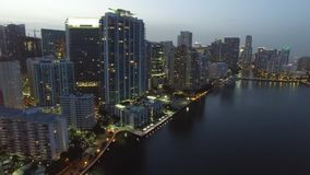 Aerial video of Brickell Miami at dusk stock video footage