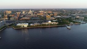 Aerial Video of Camden New Jersey Waterfront.  stock video