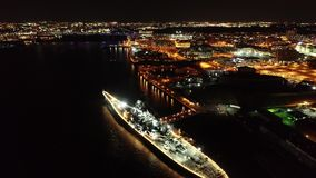 Aerial Video of Camden New Jersey Waterfront at Night.  stock footage