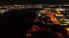 Aerial Video of Camden New Jersey Waterfront at Night.  stock video footage