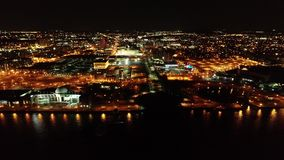 Aerial Video of Camden New Jersey Waterfront at Night.  stock video
