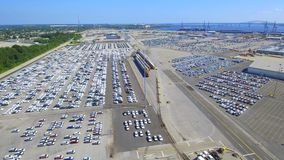 Aerial video cargo port stock footage