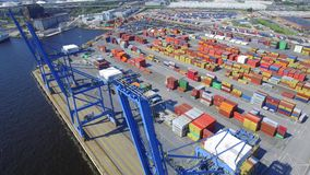 Aerial video of a cargo port stock video