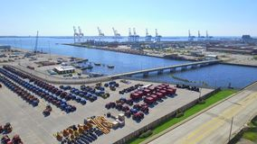 Aerial video of a cargo port stock footage