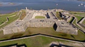 Aerial video of Castillo De San Marcos stock footage