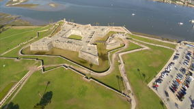Aerial video of Castillo De San Marcos stock video
