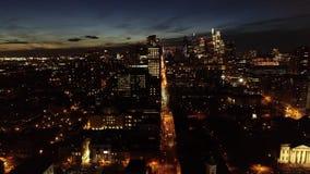 Aerial Video of Center City Philadelphia at Night.  stock footage