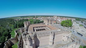 Aerial video of Coca Castle (Castillo de Coca) is a fortification constructed in the 15th century and is located in Coca stock video footage