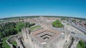Aerial video of Coca Castle (Castillo de Coca) is a fortification constructed in the 15th century and is located in Coca stock video