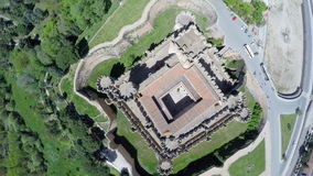 Aerial video of Coca Castle (Castillo de Coca) stock video