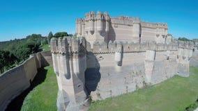 Aerial video of Coca Castle (Castillo de Coca) stock video footage
