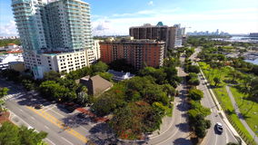 Aerial video of Coconut Grove Miami FL stock footage