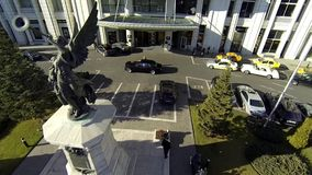 Aerial video for commercial video with a car at the hotel stock video footage