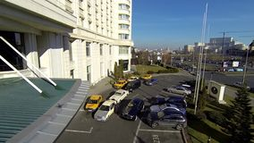 Aerial video for commercial video with a car at the hotel 2 stock footage