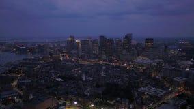 Aerial Massachusetts Boston July 2017 Night 4K Inspire 2 stock video footage
