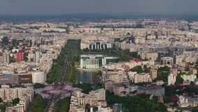 Aerial Romania Bucharest June 2018 Sunny Day 90mm Zoom 4K Inspire 2 Prores