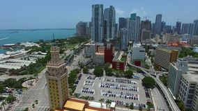 Aerial video of Downtown Miami stock footage