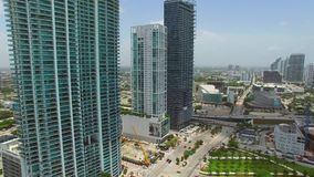 Aerial video of Downtown Miami 2 stock footage