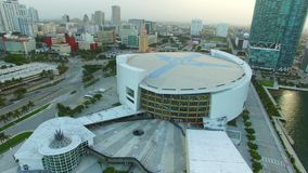 Aerial video of Downtown Miami FL stock video
