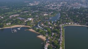 Aerial Connecticut Stamford July 2017 Sunny Day 4K Inspire 2. Aerial video of downtown Stamford and the harbor stock footage