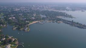 Aerial Connecticut Stamford July 2017 Sunny Day 4K Inspire 2. Aerial video of downtown Stamford and the harbor stock video footage