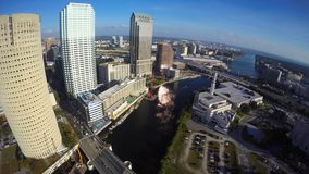 Aerial video of downtown Tampa Florida stock video footage