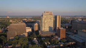 Aerial Delaware Wilmington July 2017 Sunset 4K Inspire 2. Aerial video of downtown Wilmington at sunset stock video footage