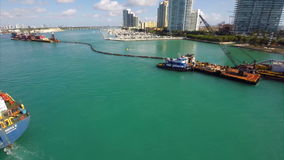 Aerial video dredging barge Miami stock footage