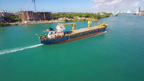 Aerial video dredging barge Miami stock video footage