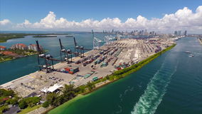 Aerial video drone Port of Miami stock video footage