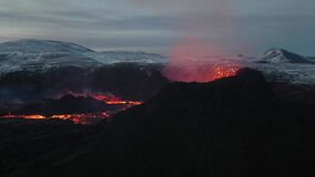 This aerial video from the eruption in Iceland in Reykjanes peninsula.