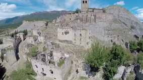 Aerial video Esco, spanish abandoned small town stock video footage