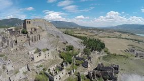 Aerial video Esco, spanish abandoned small town stock video