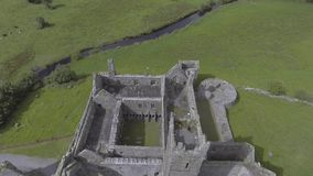 Aerial video of the famous irish public landmark, quin abbey, county clare, ireland stock video footage