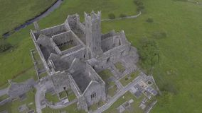 Aerial video of the famous irish public landmark, quin abbey, county clare, ireland stock footage