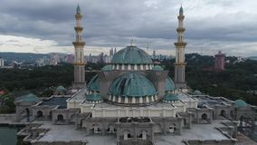 Aerial Video of Federal Territory Mosque. KUALA LUMPUR, MALAYSIA - JANUARY 1, 2017: An aerial shot of the Federal Territory Mosque or Masjid Wilayah in the stock footage
