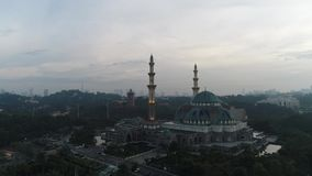 Aerial Video of Federal Territory Mosque. KUALA LUMPUR, MALAYSIA - JANUARY 1, 2017: An aerial shot of the Federal Territory Mosque or Masjid Wilayah in the stock video footage