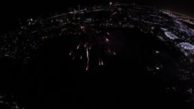 Aerial video of Fireworks 4th of July phantom stock video footage