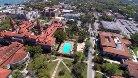 Aerial video Flagler College St Augustine stock video footage