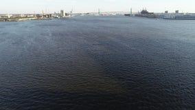 Aerial Video Flying Low on the Delaware River Towards Walt Whitman Bridge Philadelphia.  stock video footage