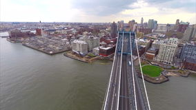 Aerial video footage Manhattan Bridge stock footage