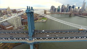 Aerial video footage Manhattan Bridge stock footage
