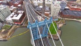 Aerial video footage Manhattan Bridge stock video footage
