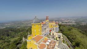 Aerial video footage of Pena National Palace in Sintra, Portugal stock video