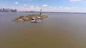 Aerial video footage of  the Statue of Liberty Stock Photography