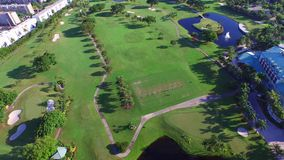 Aerial video golf course 8 stock footage