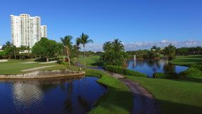 Aerial video golf course 9 stock video