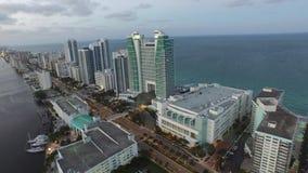 Aerial video Hallandale Beach FL at dusk 5 stock video