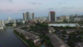 Aerial video Hallandale FL at dusk stock video footage