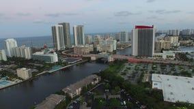 Aerial video Hallandale FL at dusk 2 stock video footage